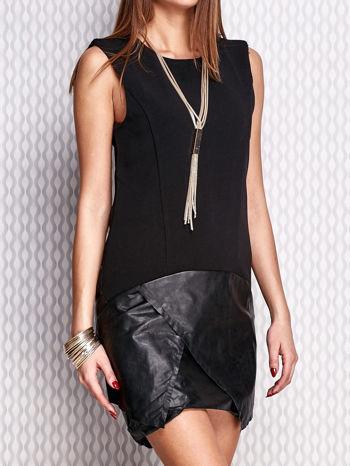 Czarna sukienka ze skórzanym wykończeniem                                  zdj.                                  1