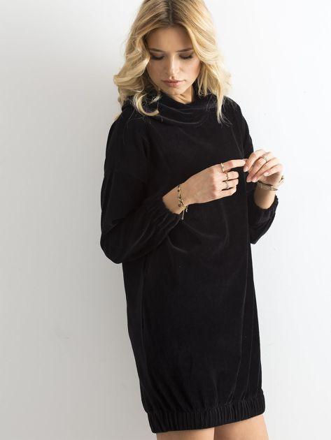 Czarna sztruksowa sukienka                              zdj.                              3