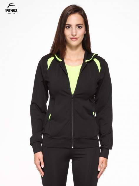 Czarna termoaktywna bluza do biegania z kapturem i fluozielonymi wstawkami ♦ Performance RUN