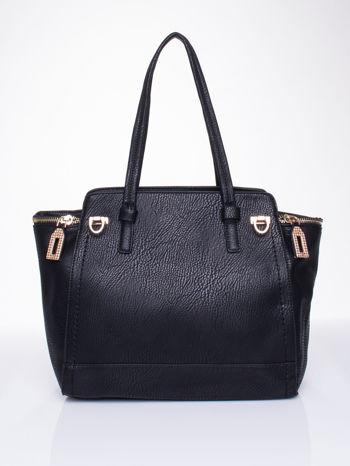 Czarna torba na ramię z dekoracyjnym suwakiem                                  zdj.                                  1