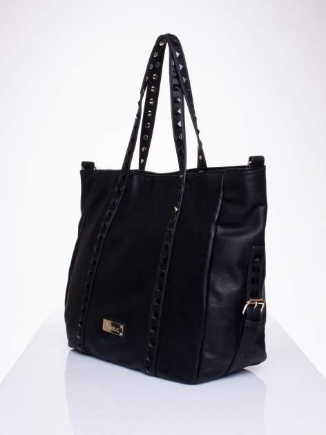 Czarna torba shopper bag z kolorowymi ćwiekami                                  zdj.                                  3