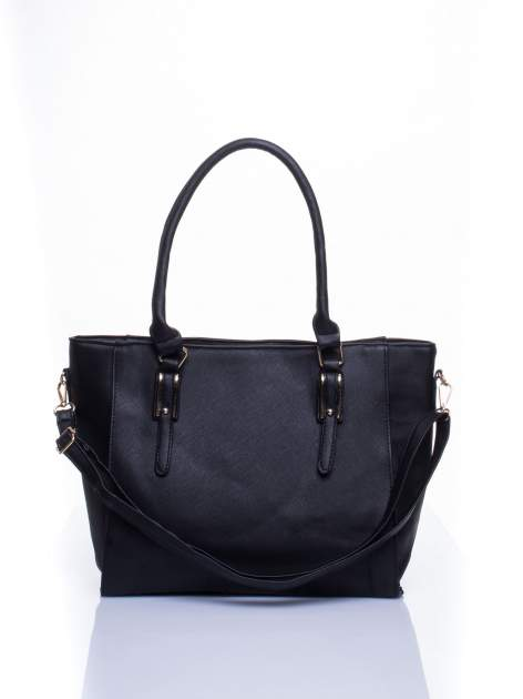 Czarna torba shopper bag z odpinanym paskiem                                  zdj.                                  2