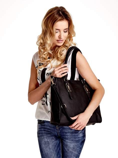 Czarna torba shopper bag z odpinanym paskiem                                  zdj.                                  1