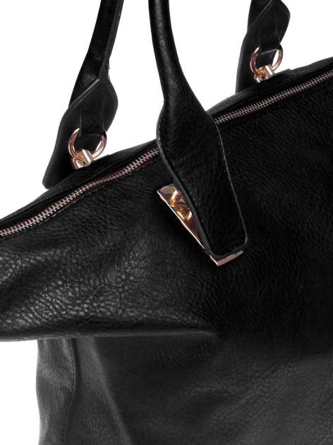 Czarna torba shopper bag ze złotymi detalami                                  zdj.                                  3