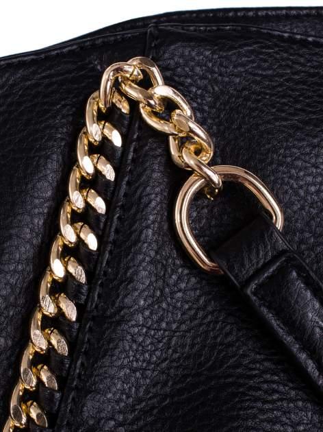 Czarna torba shopper bag ze złotymi łańcuchami                                  zdj.                                  5
