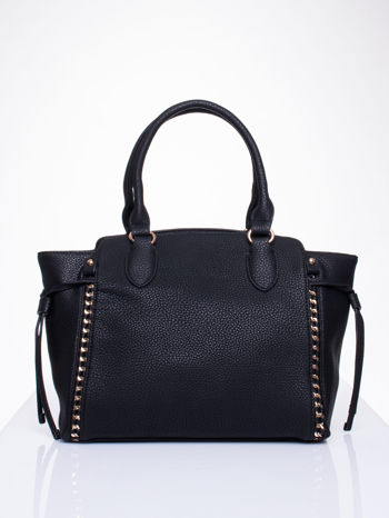 Czarna torba shopper bag ze złotymi wstawkami                                  zdj.                                  1