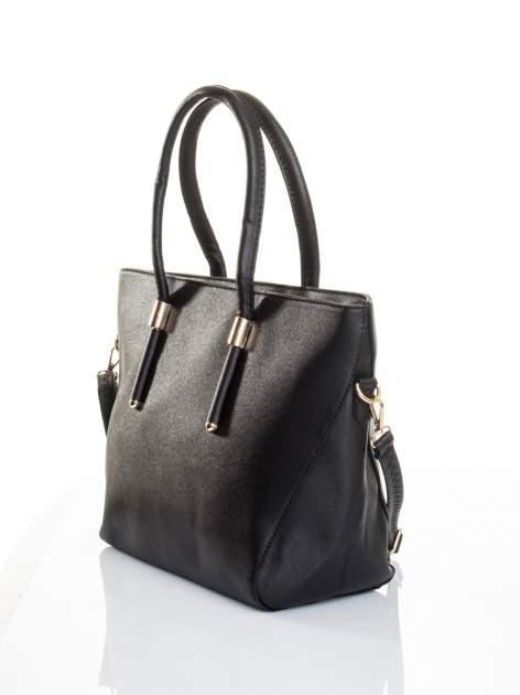 Czarna torba shopper efekt saffiano                                  zdj.                                  4