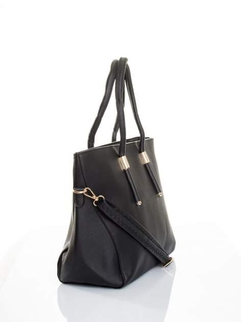 Czarna torba shopper efekt saffiano                                  zdj.                                  3