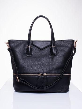 Czarna torba z ozdobnymi suwakami na dole                                  zdj.                                  1