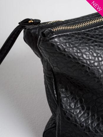 Czarna torebka dwukomorowa z paskiem                                  zdj.                                  4