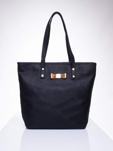 Czarna torebka shopper bag z kokardką