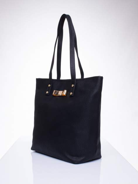 Czarna torebka shopper bag z kokardką                                  zdj.                                  3