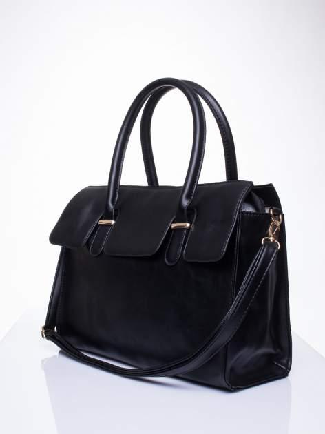 Czarna torebka teczka z klapką                                  zdj.                                  3