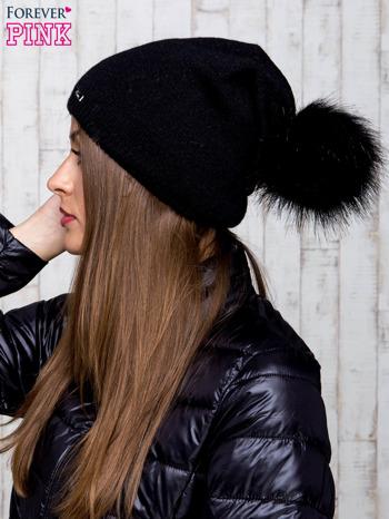Czarna wełniana czapka z futrzanym pomponem                                   zdj.                                  2