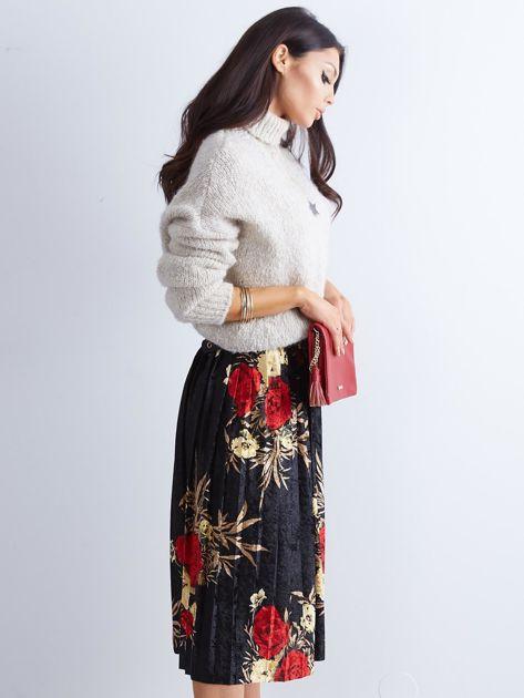 Czarna welurowa plisowana spódnica w kwiaty                              zdj.                              12