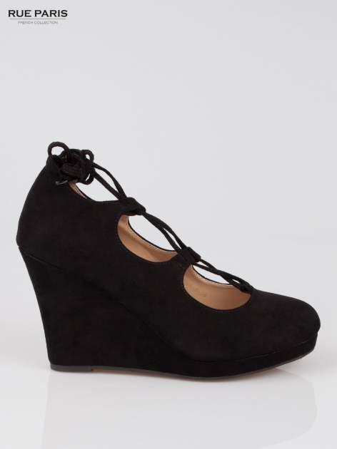 Czarna wiązane koturny lace up