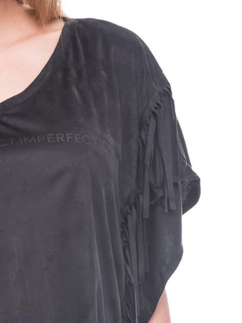 Czarna zamszowa bluzka nietoperz z frędzlami                                  zdj.                                  7