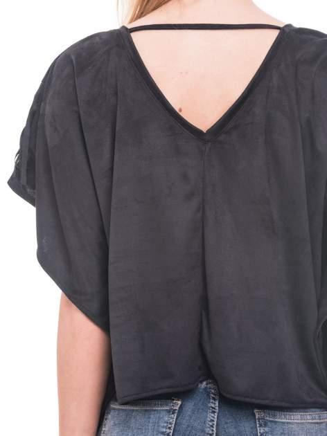 Czarna zamszowa bluzka nietoperz z frędzlami                                  zdj.                                  8