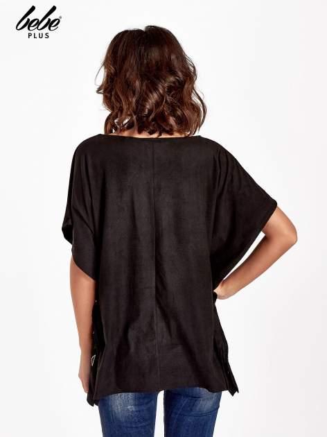 Czarna zamszowa bluzka z haftem w stylu boho                                  zdj.                                  3