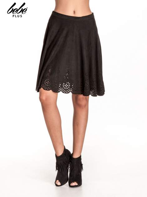 Czarna zamszowa spódnica w stylu boho                                  zdj.                                  1