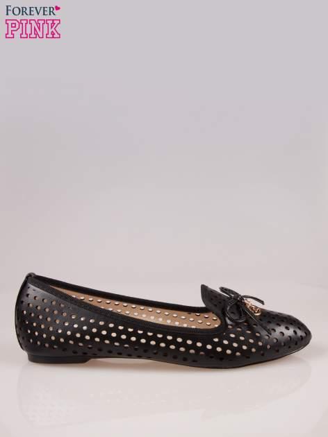 Czarne ażurowe lordsy faux leather Surprise z kokardką                                  zdj.                                  1