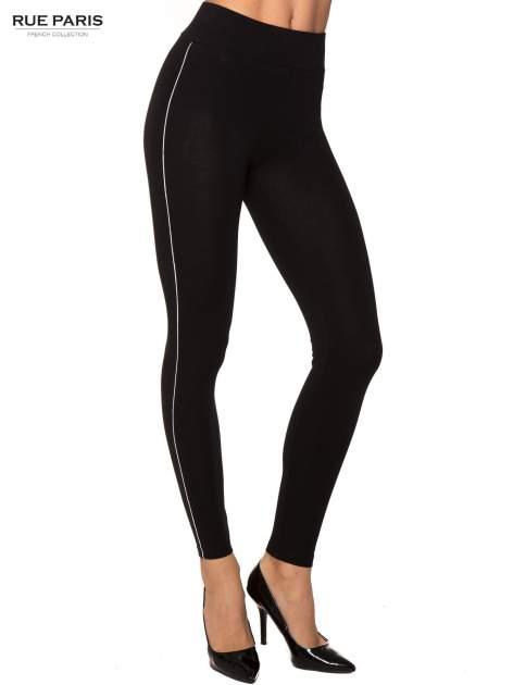 Czarne bawełniane legginsy z kontrastowym pasem wzdłuż nogawki                                  zdj.                                  1