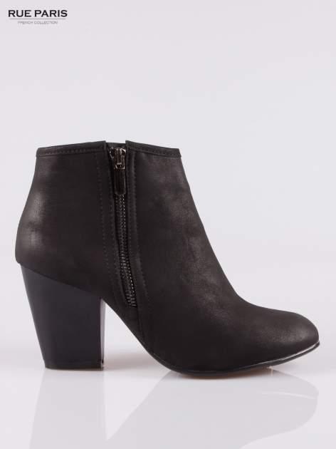 Czarne botki ankle heels na słupku z zamkami po obu stronach