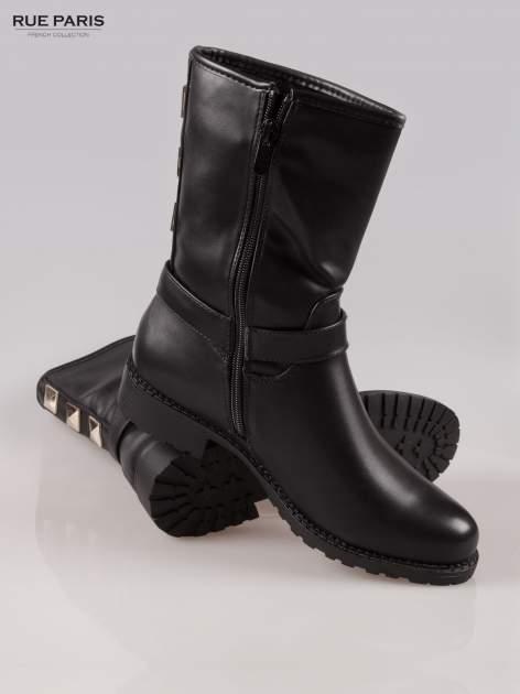 Czarne botki biker boots z klamerką i ćwiekami                                  zdj.                                  4