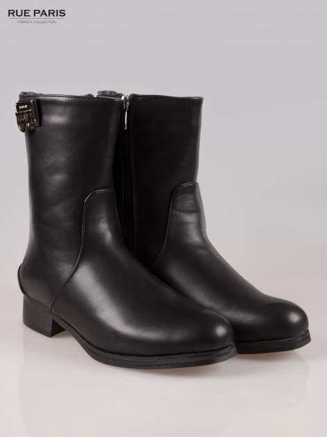 Czarne botki biker boots z zamkiem z tył                                  zdj.                                  2