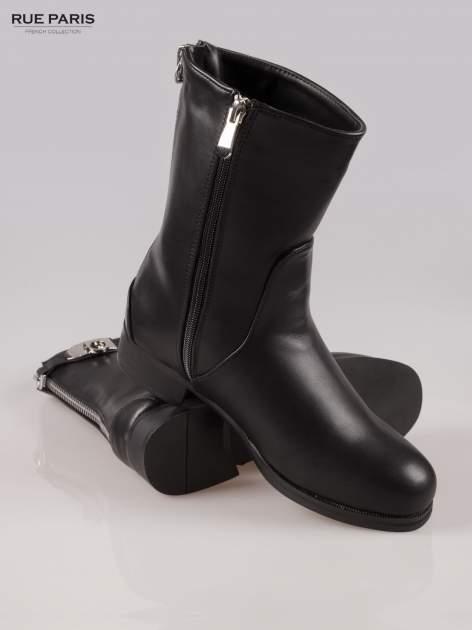 Czarne botki biker boots z zamkiem z tył                                  zdj.                                  4