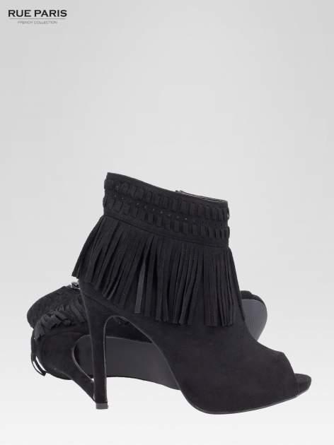 Czarne botki faux suede Suzie open toe z frędzlami w stylu boho                                  zdj.                                  5