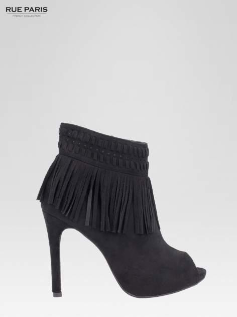 Czarne botki faux suede Suzie open toe z frędzlami w stylu boho                                  zdj.                                  2
