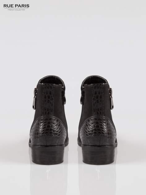 Czarne botki z nubuku z tyłem z efektem skóry krokodyla                                  zdj.                                  3