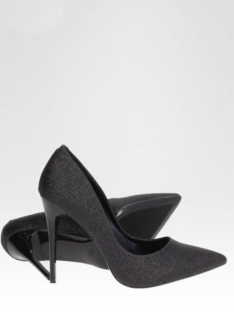 Czarne brokatowe szpilki w szpic Black Glitter                                  zdj.                                  4