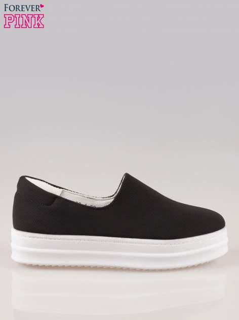 Czarne buty slip on na wysokiej podeszwie                                  zdj.                                  1