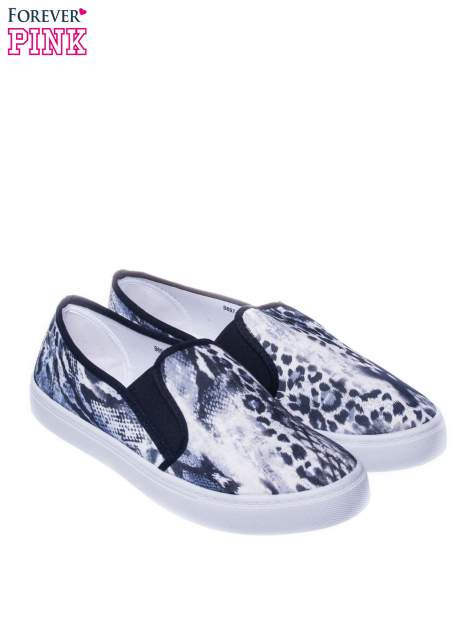 Czarne buty slip on we wzór animal print                                  zdj.                                  2