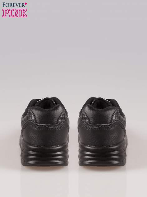 Czarne buty sportowe faux leather Watch Me ze wstawkami ze skóry krokodyla                                  zdj.                                  3