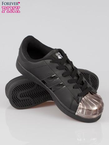Czarne buty sportowe material Enigmatic z metalicznym czubkiem                                  zdj.                                  4