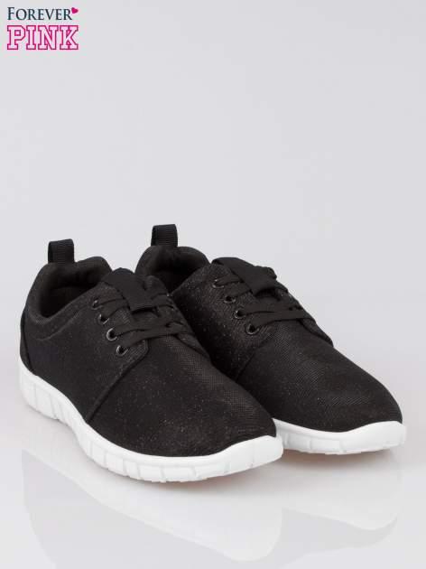 Czarne buty sportowe textile Diamonds z metaliczną nitką                                  zdj.                                  2