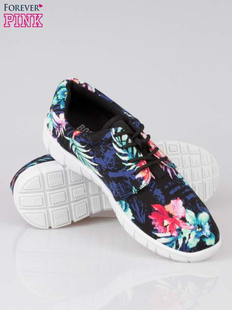 Czarne buty sportowe textile Tropicana w exotic print na podeszwie flex                                  zdj.                                  4