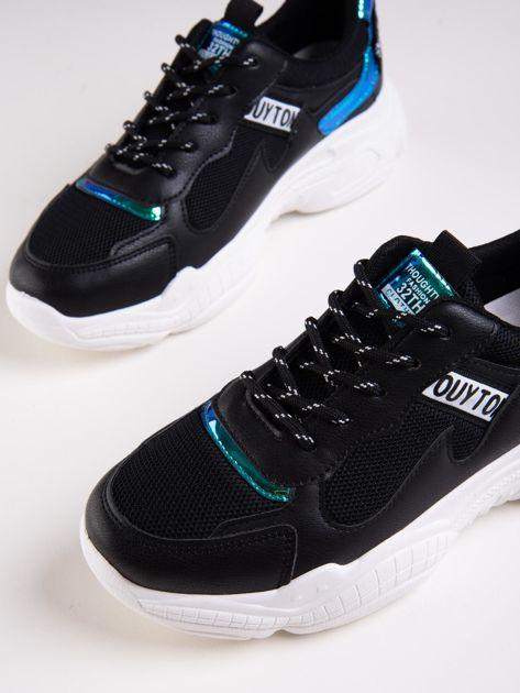 Czarne buty sportowe z holograficznymi wstawkami w kolorze błękitu                              zdj.                              4