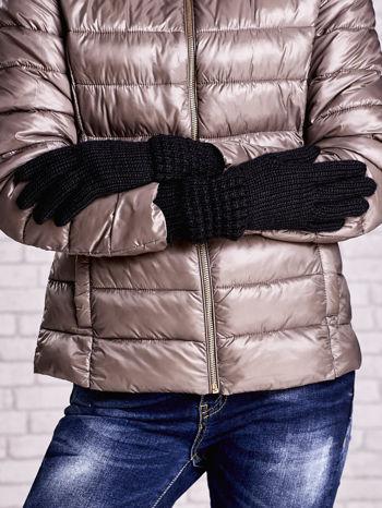 Czarne długie rękawiczki z fantazyjnym ściągaczem                                  zdj.                                  2