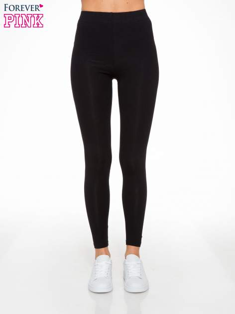 Czarne elastyczne legginsy damskie z bawełny