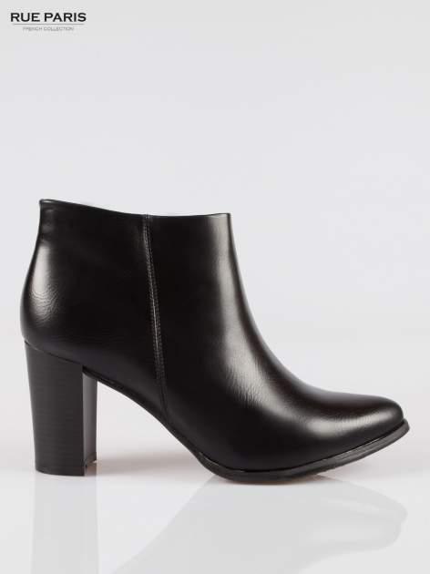 Czarne eleganckie botki na słupkowym obcasie