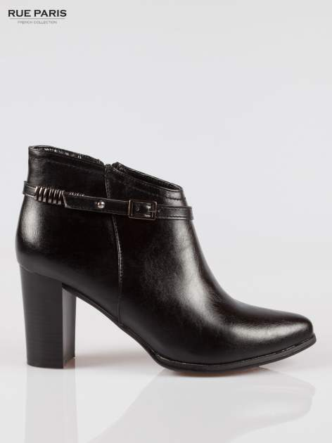 Czarne eleganckie botki na słupkowym obcasie z klamerką