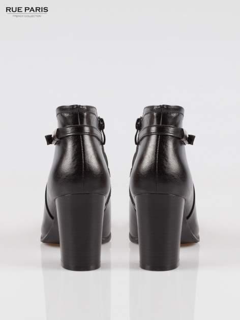 Czarne eleganckie botki na słupkowym obcasie z klamerką                                  zdj.                                  3
