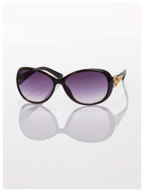 Czarne eleganckie okulary ze złotym zdobieniem dla kobiet klasyczna oprawka z filtrami UV