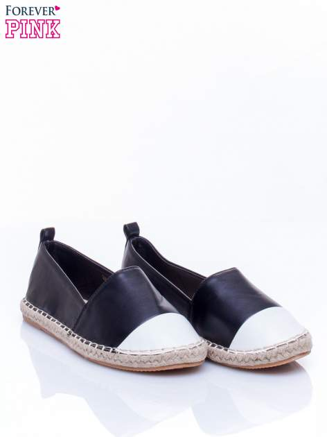 Czarne espadryle faux leather Madeleine two tone                                  zdj.                                  3