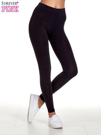 Czarne gładkie legginsy damskie basic