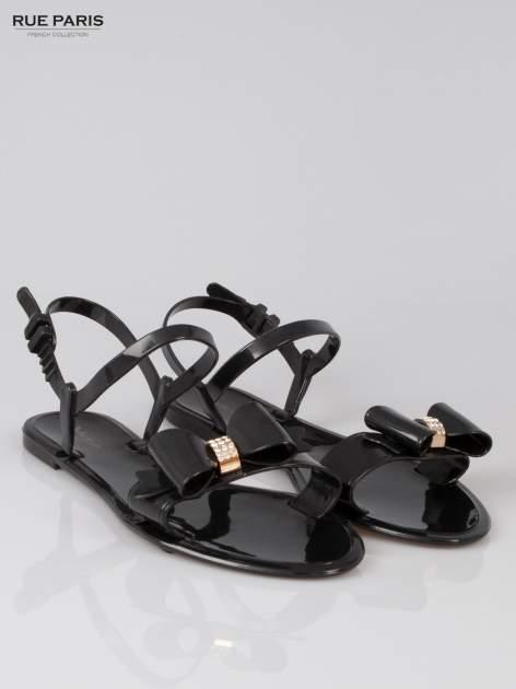 Czarne gumowe sandały meliski z kokardą                                  zdj.                                  2